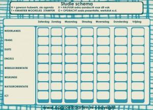 Studieschema voor huiswerk en opdrachten op de middelbare school