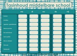 Een schema dat scholieren helpt om te weten wat ze op welke dag mee moeten nemen naar school. Vooral handig voor brugklassers.