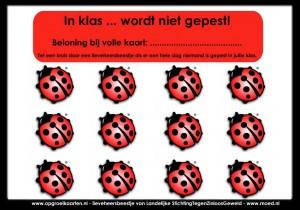 Antipestkaart voor in het onderwijs, kan in de klas gebruikt worden om het pesten tussen leerlingen te verminderen.