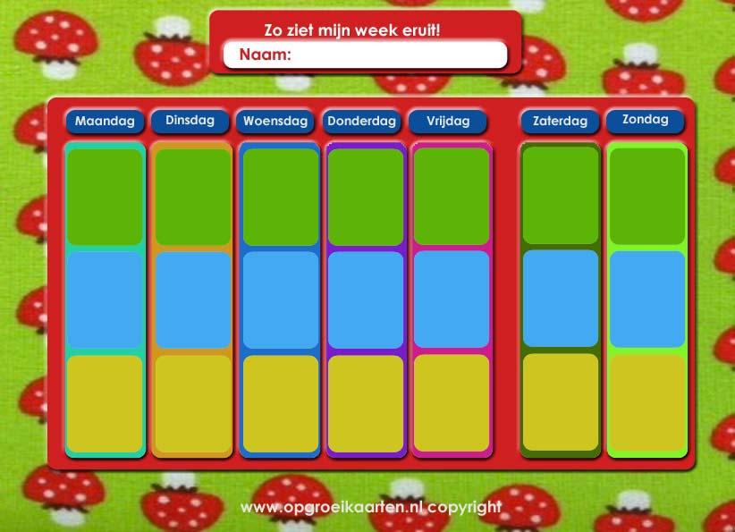 Deze weekplanner kan je kind besef krijgen van de dagen van de week