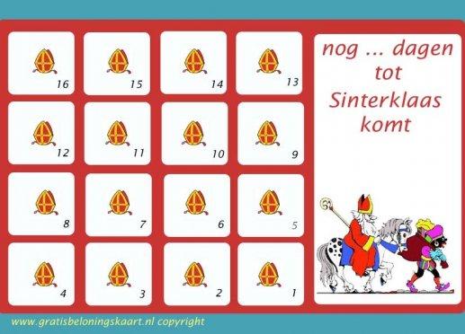 Aftelkalender Sinterklaas 1 Gratisbeloningskaart Nl
