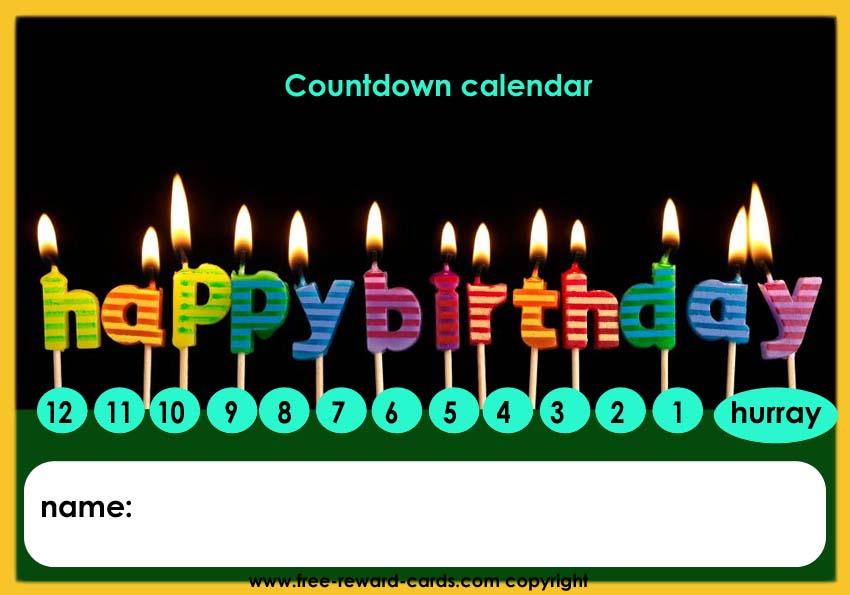Birthday countdown calendar for kids