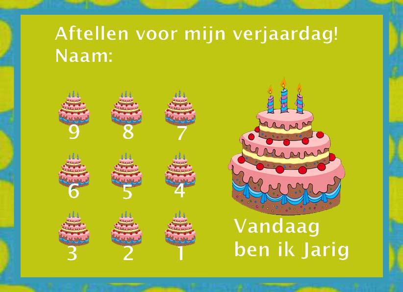 Kids Birthday Calendar : Aftelkalender kinderverjaardag gratisbeloningskaart
