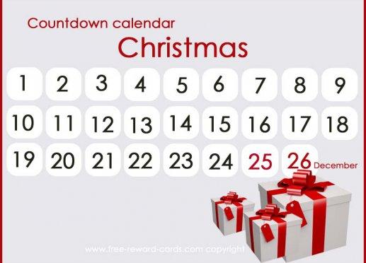 Free Christmas Countdown Printable   Calendar Template 2016