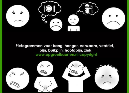 Pictogrammen ziek/bang/honger etc