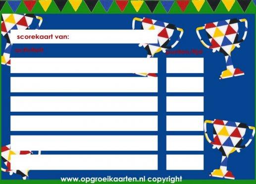 Fabulous scorekaart kinderfeest - gratisbeloningskaart.nl SX17