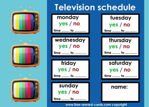 Television schedule for kids