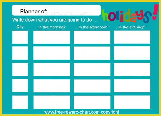 Holiday planner - free printable