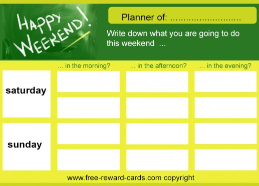 Weekend daily schedule card